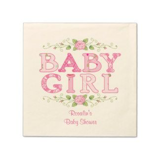 Baby Girl Custom Floral Napkins Standard Cocktail Napkin