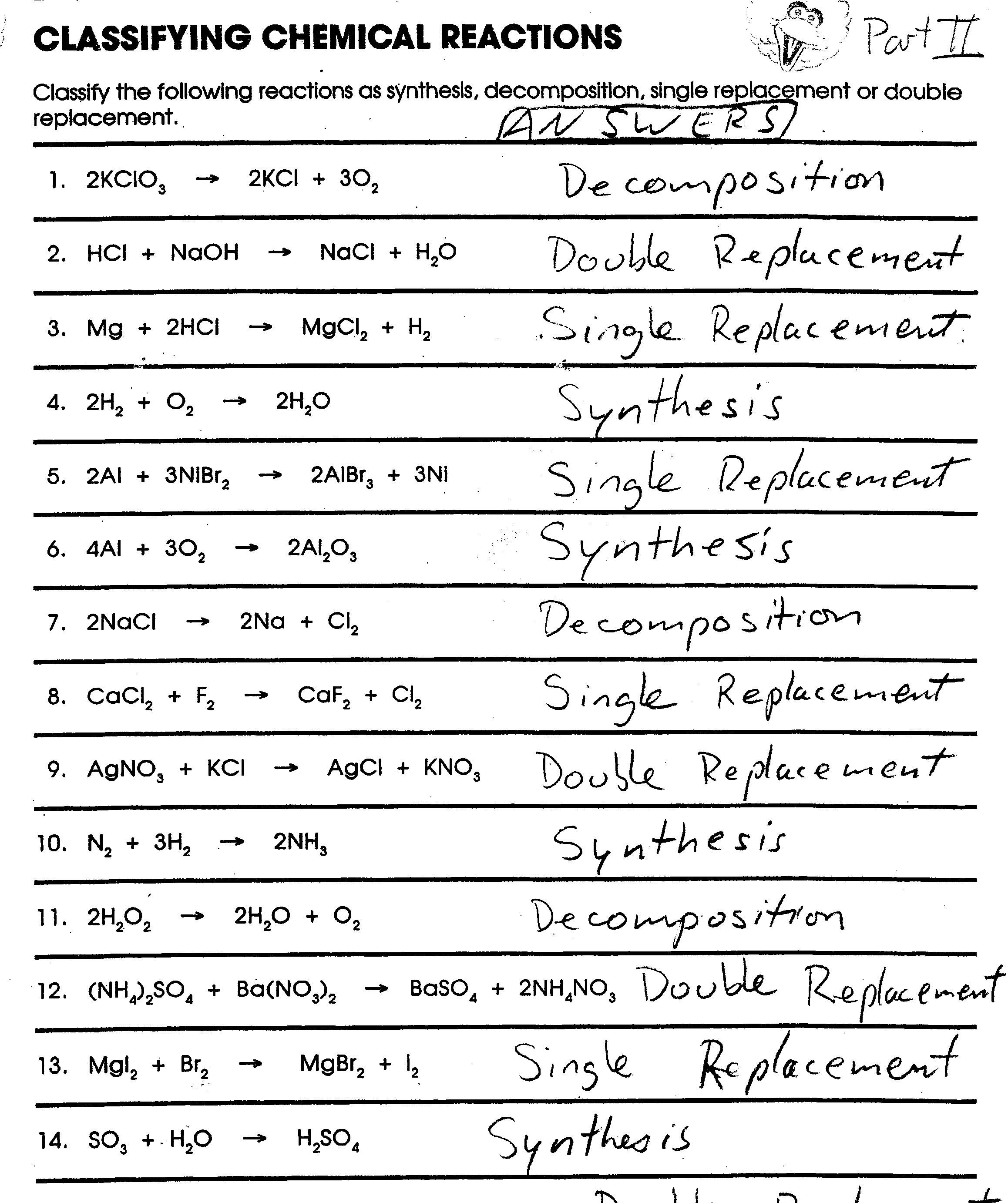 Classifying Chemical Equations Worksheets Chemical Reactions Redox Reactions Chemical Equation