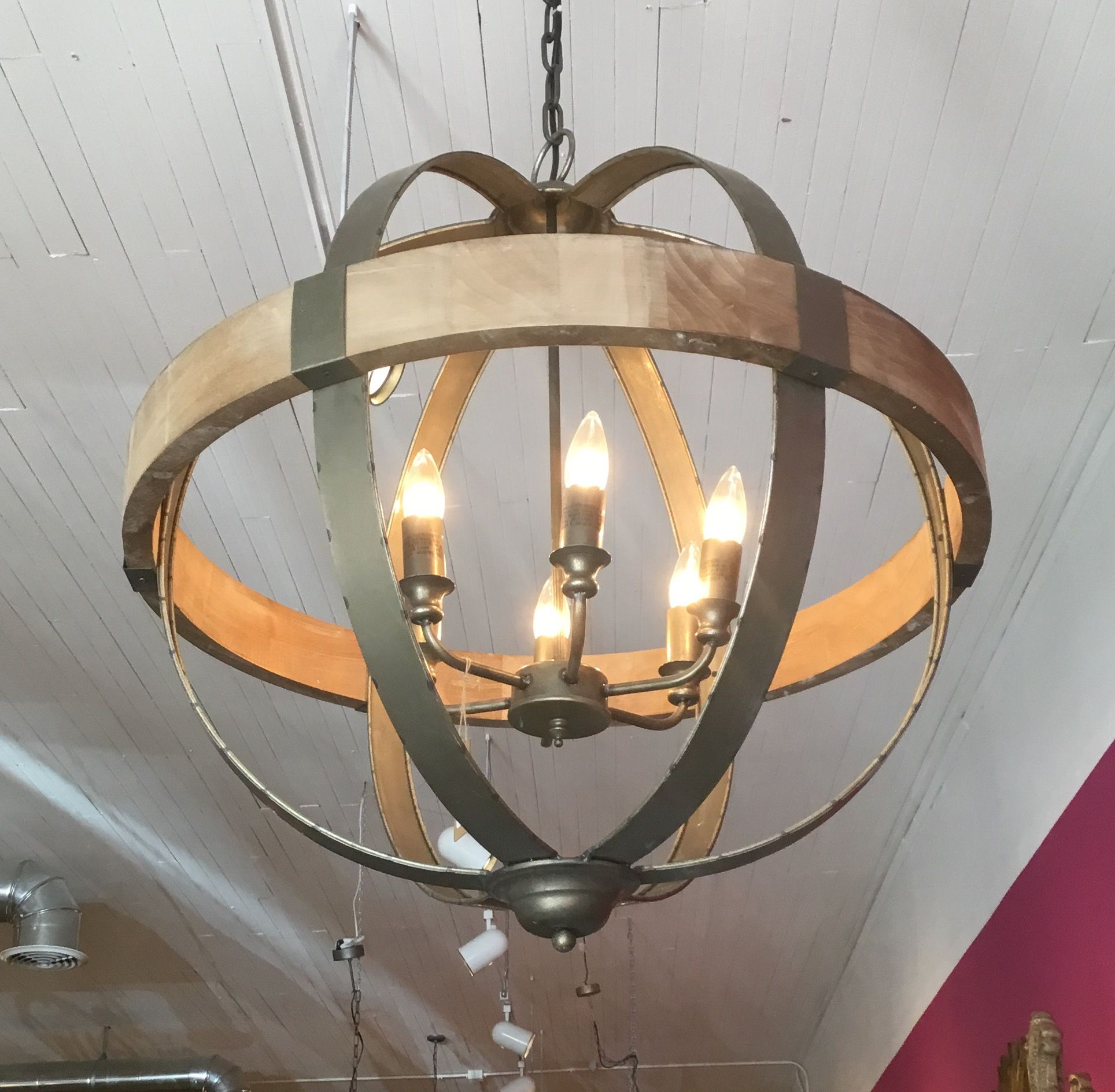 Metal & wood sphere chandelier great for a rustic look