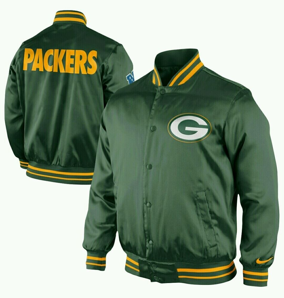 NIKE $130 NWT Green Bay PACKERS Coat Mens M MEDIUM Satin Jacket NEW #Nike #GreenBayPackers