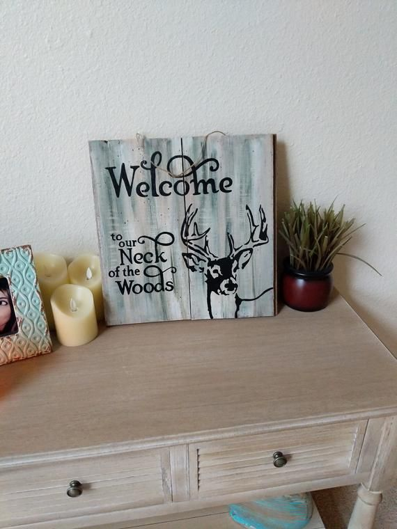 Hand painted reclaimed wood sign - welcome sign - hunting sign - buck - deer -rustic decor - whitetail - father's day gift - painted sign