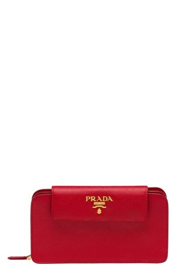 1ce80d142fab Beautiful Prada Saffiano Leather Metal Oral Phone Wallet on a Chain Women s  Fashion Handbags.