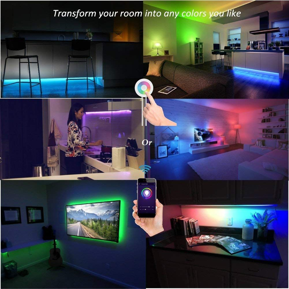 Lombex Smart Wifi Led Light Strip Color Changing Rgb Light Strip Rope Multi Color Dimmable Strips Lighting No Hub Required Works With Alexa Indoor Bedroom Under Led Lighting Bedroom Strip Lighting Rope