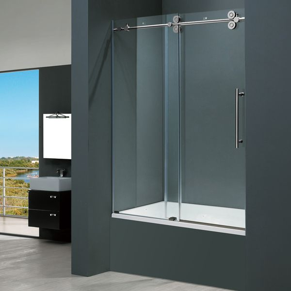 Vigo 60-inch Clear Glass Frameless Tub Sliding Door | Home Decor ...