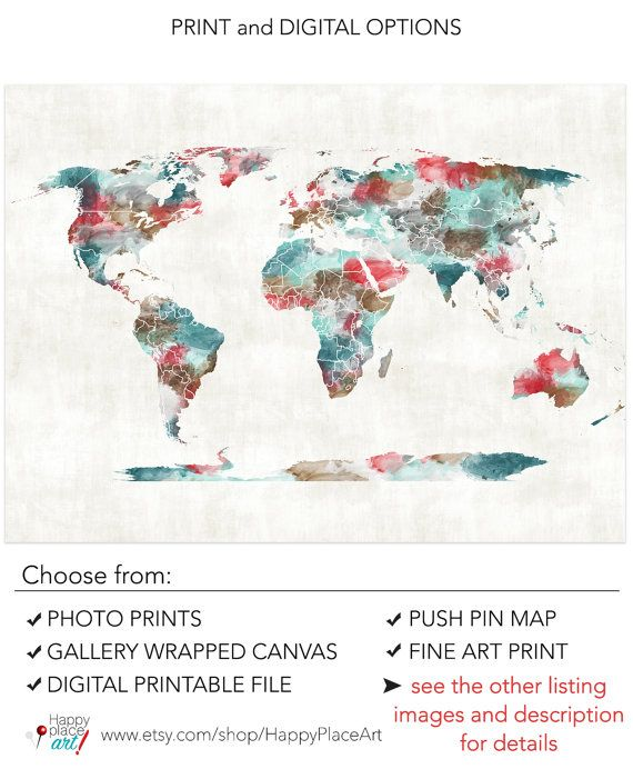 Very large Custom World Map Printable Image with Watercolour