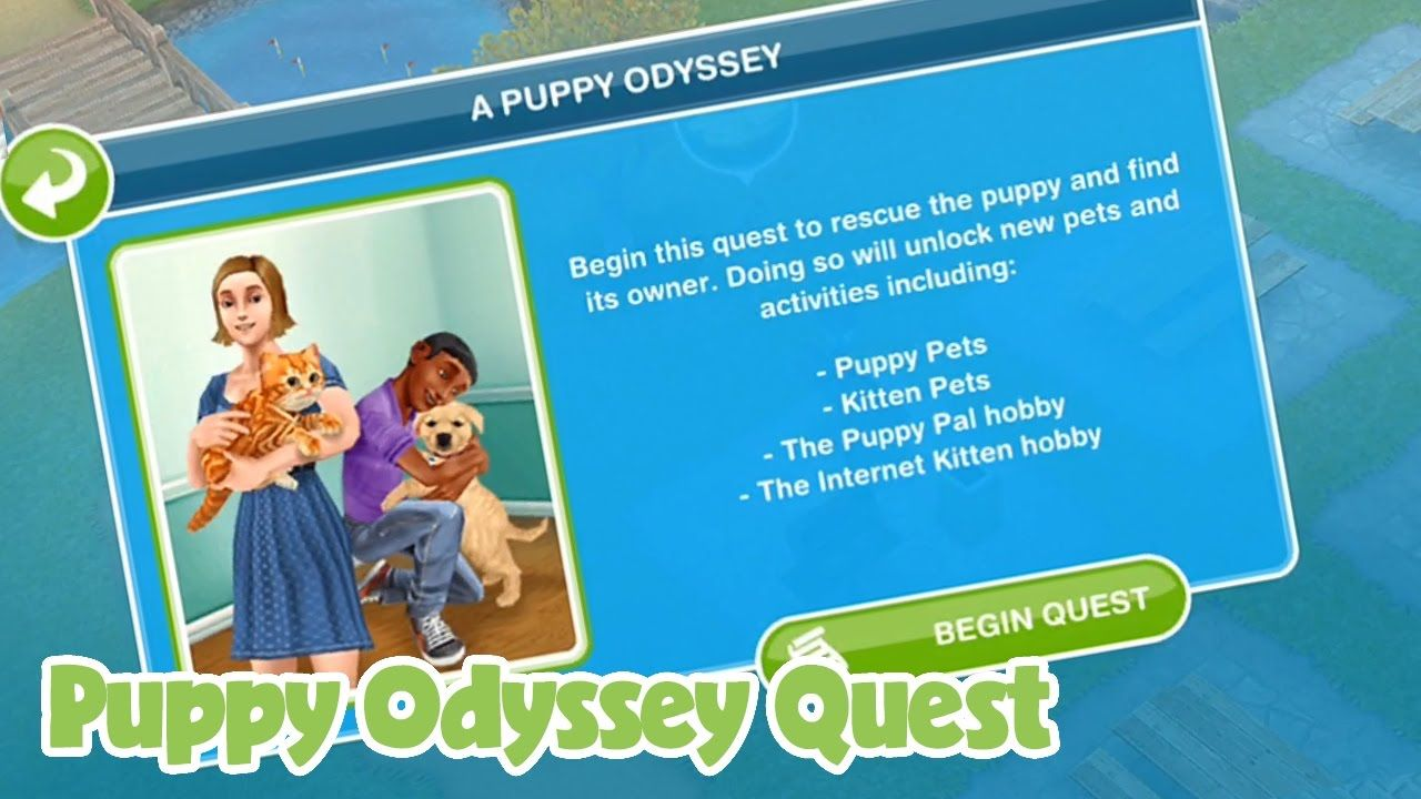 The Sims Freeplay Puppy Odyssey quest