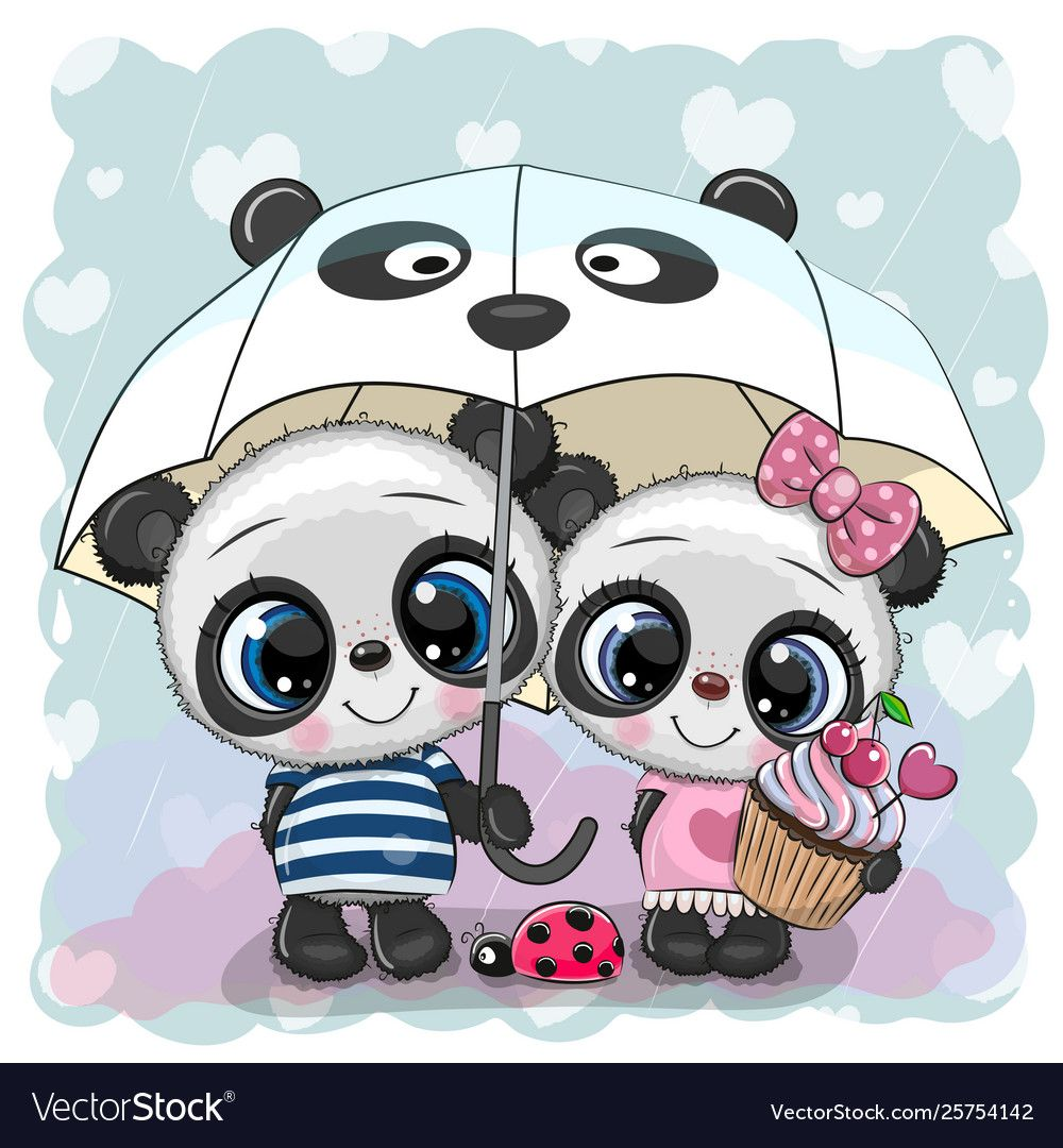 Two Cartoon Pandas With Umbrella Under Rain Vector Image On