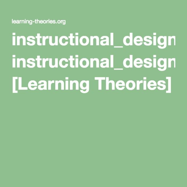 Instructional Design Discovery Learning Learning Theories Learning Theory Instructional Design Instruction