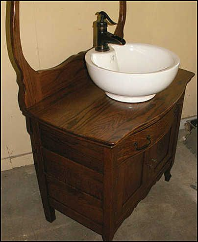 Bathroom Vanities For Vessel Sinks sink on top of antique wash stand |  antique bathroom vanity