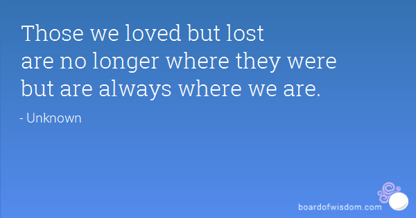 Those we loved but lost are no longer where they were but are ...