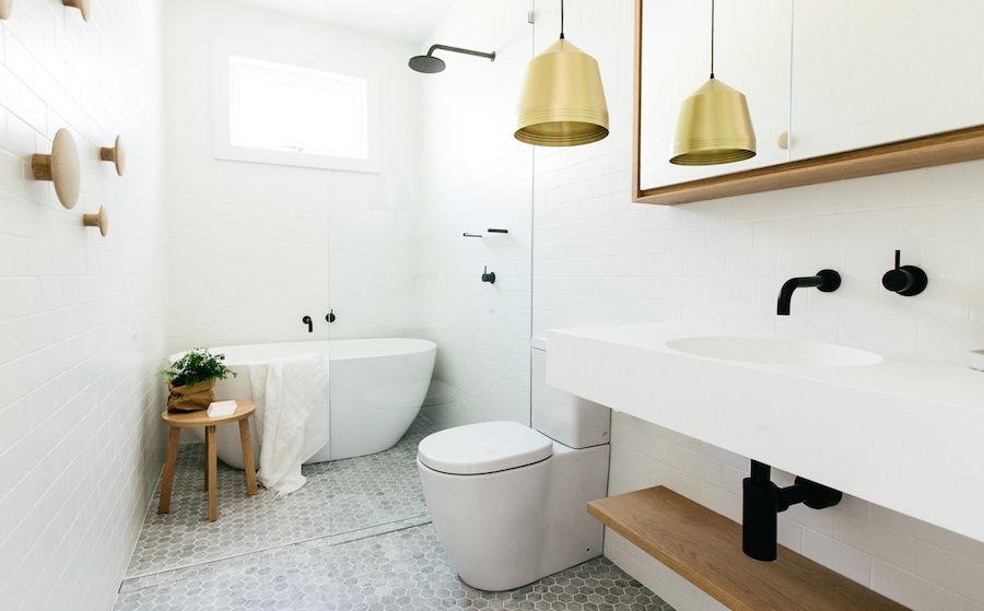 Scandinavian Bathroom With Hexagon Tiles