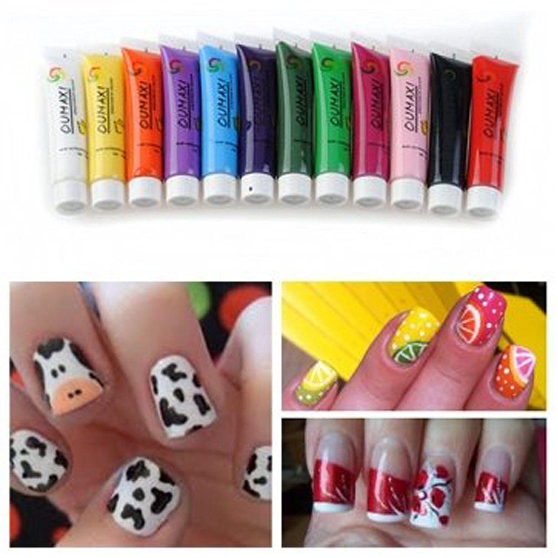12 Colors 3d Nail Art Paint Tube Draw Painting Multi Surface Acrylic Nail Art Tips Uv Gel 12ml Click On The Image Fo Cute Nail Art Painted Nail Art Nail Art