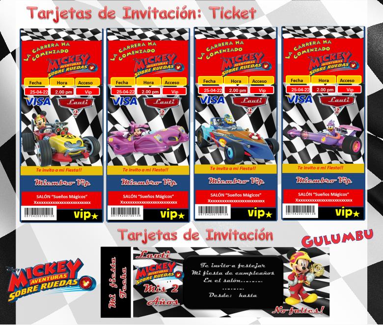 Kit Imprimible Mickey Aventuras Sobre Ruedas Candy Bar Edita