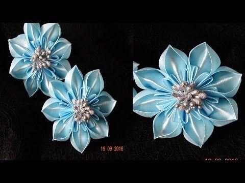 Резиночки канзаши/Новый лепесток канзаши/kanzashi petal/kanzashi flower - YouTube