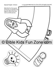simeon and anna coloring page - simeon puppet craft for kids to color and tape vbs