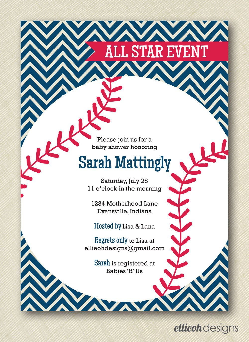 Baseball Baby Shower Invite PRINTABLE 5x7 Digital File. $15.00, Via Etsy.