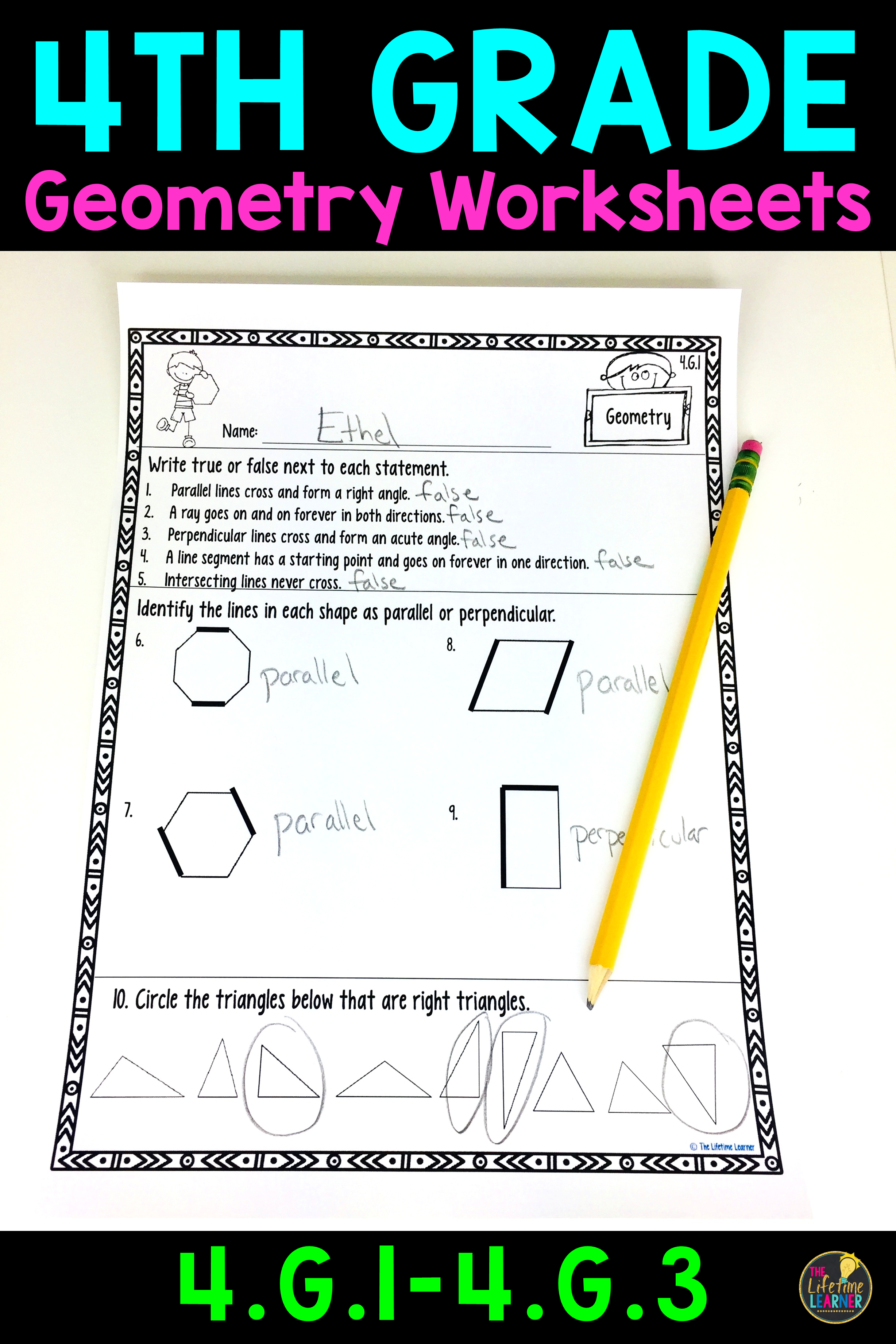 These geometry worksheets are perfect for 4th graders. They align with  common core standards 4.G.1 [ 3684 x 2456 Pixel ]