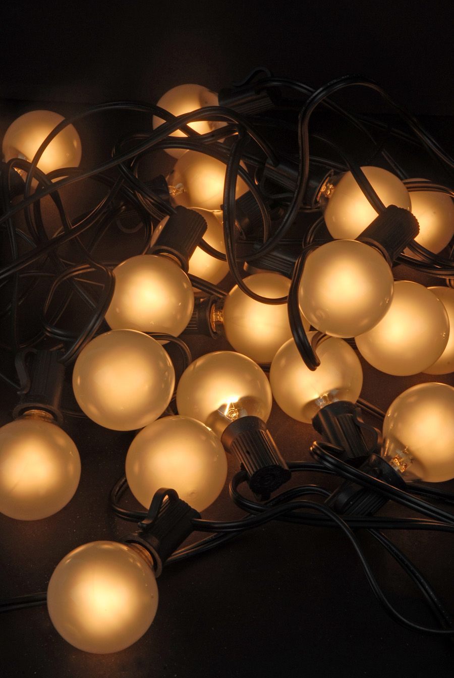 Outdoor Patio String Lights, G40 Frosted Globe, 25 Ct, 28 FT, Black Cord W/  E12 C7 Base