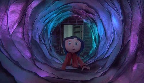 However at night Coraline is  magically  lead back to the door and & However at night Coraline is