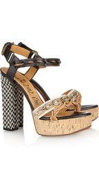 Lanvin  Leather and raffia sandals