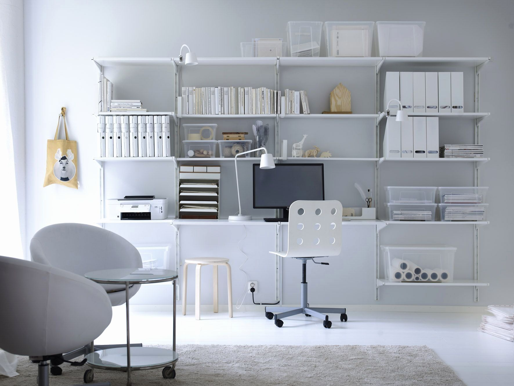 Kantoor Unit Werkplek Met Opbergsysteem Algot Van Ikea Werkplek ...
