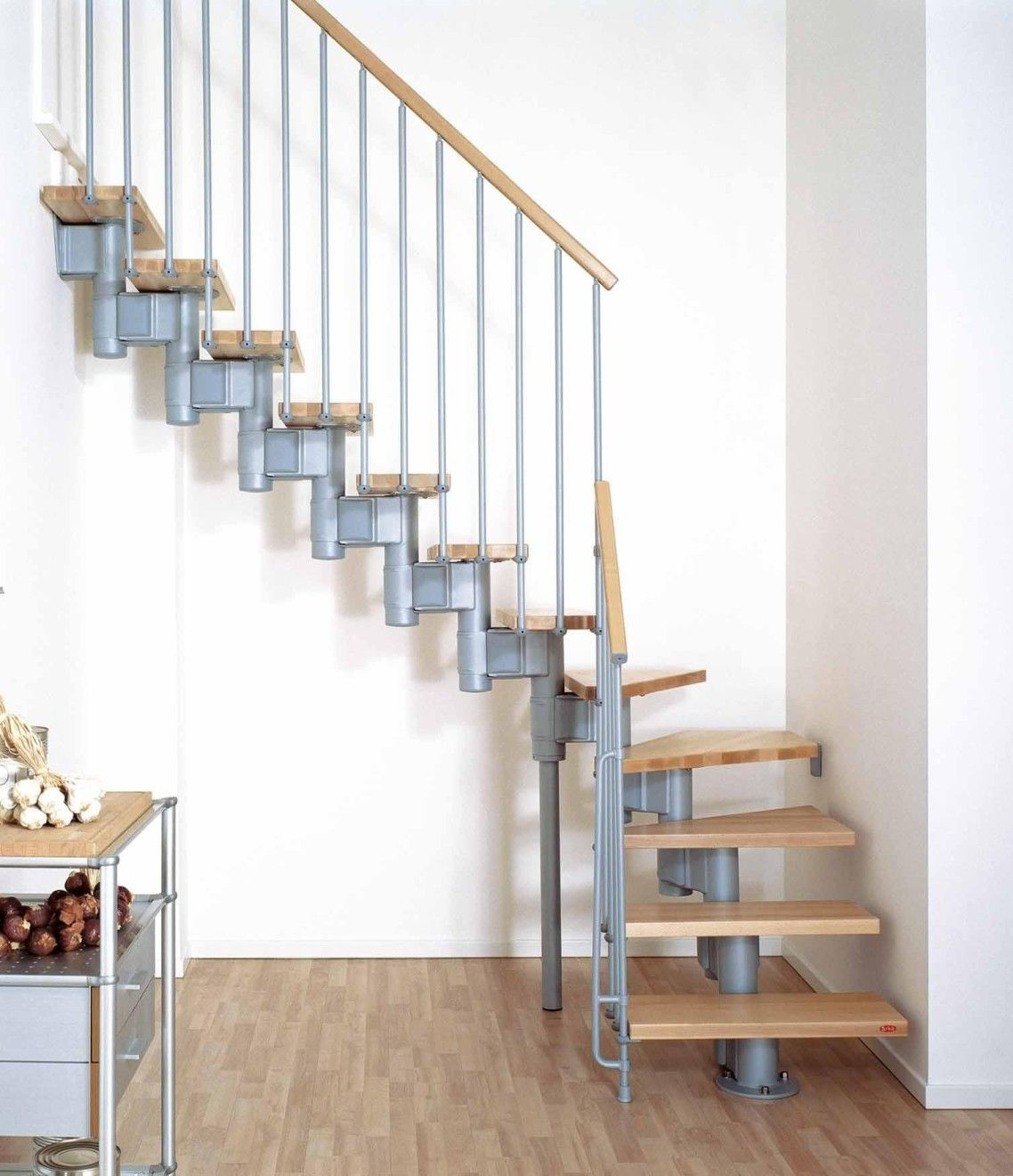 Pretty Design Ideas Of Small Space Floating Stairs With Wooden Treads And Handrails Also Silver Color Metal Ba Modular Staircase Staircase Design Stairs Design