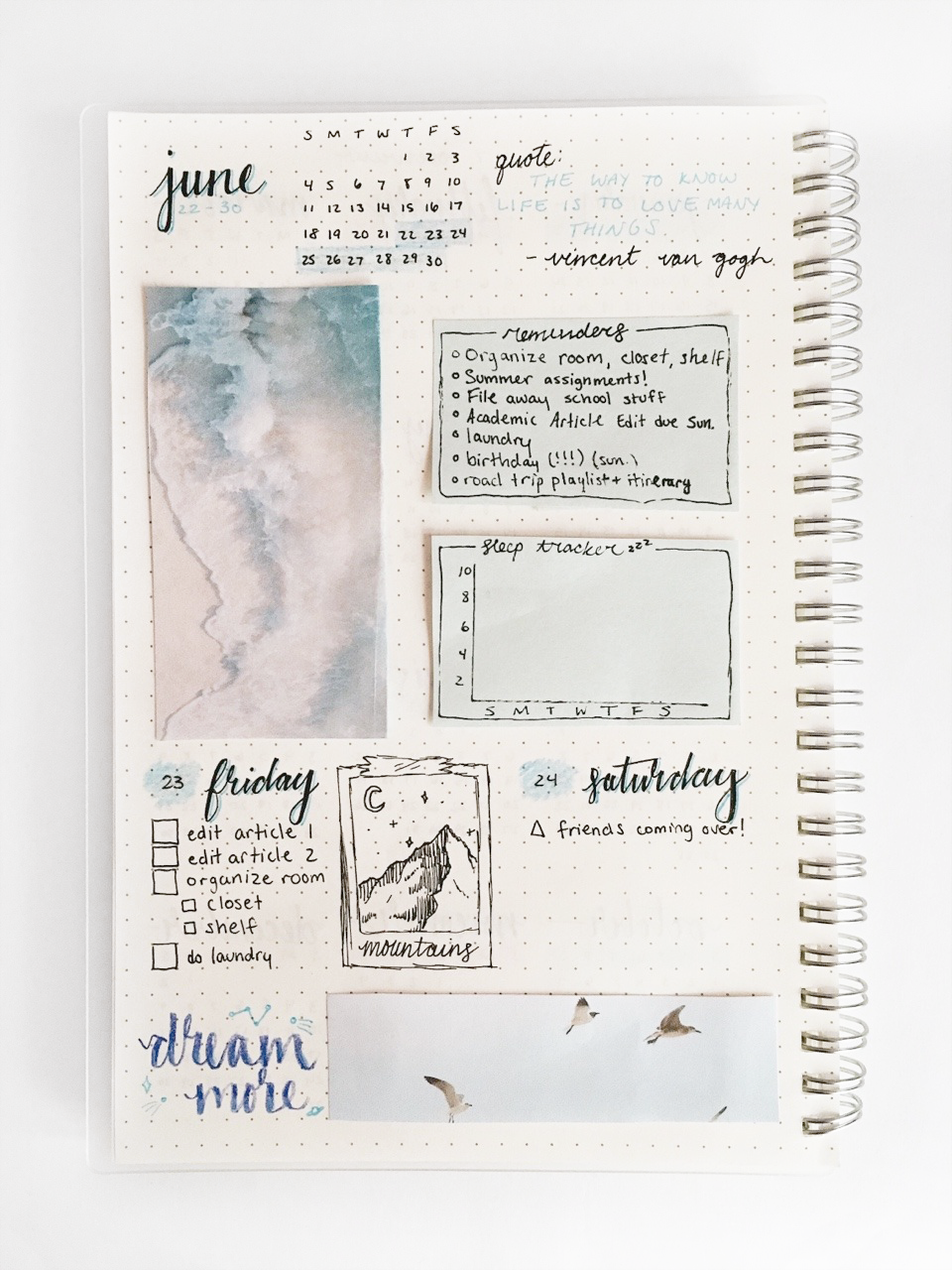 06.23.17 // beginning my summer by setting up a bullet journal! it's not perfect, but i'm happy that i'm starting it again. the weekly spread at the end isn't finished, but its a preview of sorts. can...