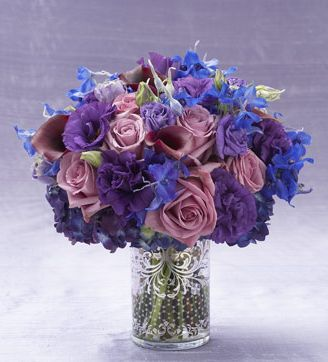 Purple And Blue Flowers Arrangement With Elegant Vase Gl Picture Jpg
