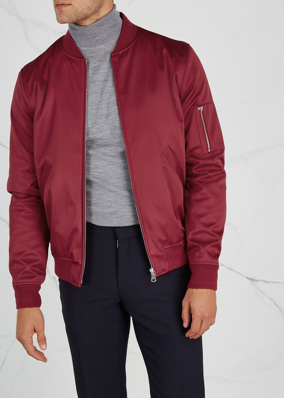 New In A P C Tough Red Satin Bomber Jacket Bomber Jacket Fashion Satin Bomber Jacket [ 1372 x 980 Pixel ]