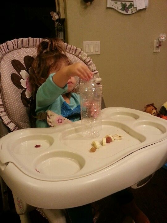 I gave Berit my empty water bottle while she ate a snack today. She ...
