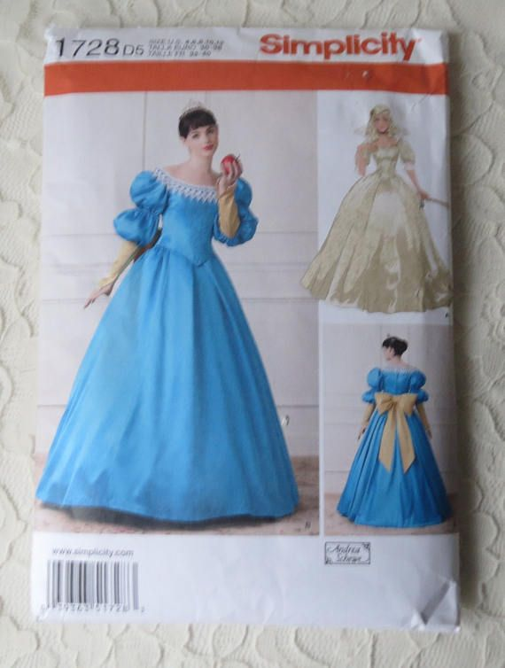 Simplicity 1728 Sewing Pattern Princess 16th Century Fairy Tale ...