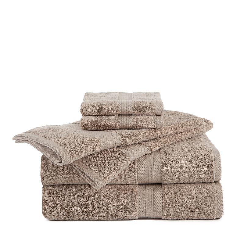 Martex Abundance 6 Pc Solid Bath Towel Value Pack Beig Green
