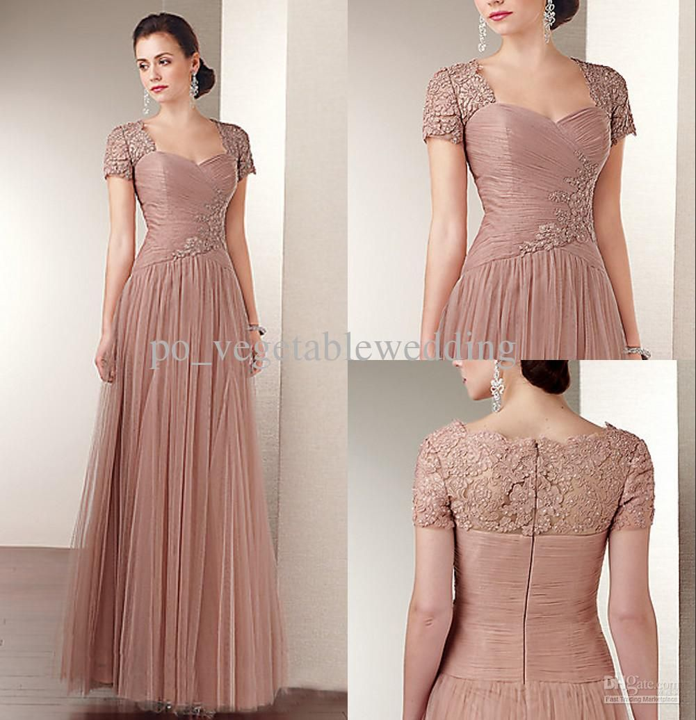 Wholesale Exqusite Scoop Applique Sequin Tulle A-line Sweep Train Zipper Mother Of the Bride Dresses, Free shipping, $129.92-134.4/Piece | DHgate