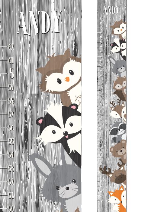 Cute Wild Animals Growth Chart Safari Theme Growth Chart for Kids Height Measurement Growth Chart