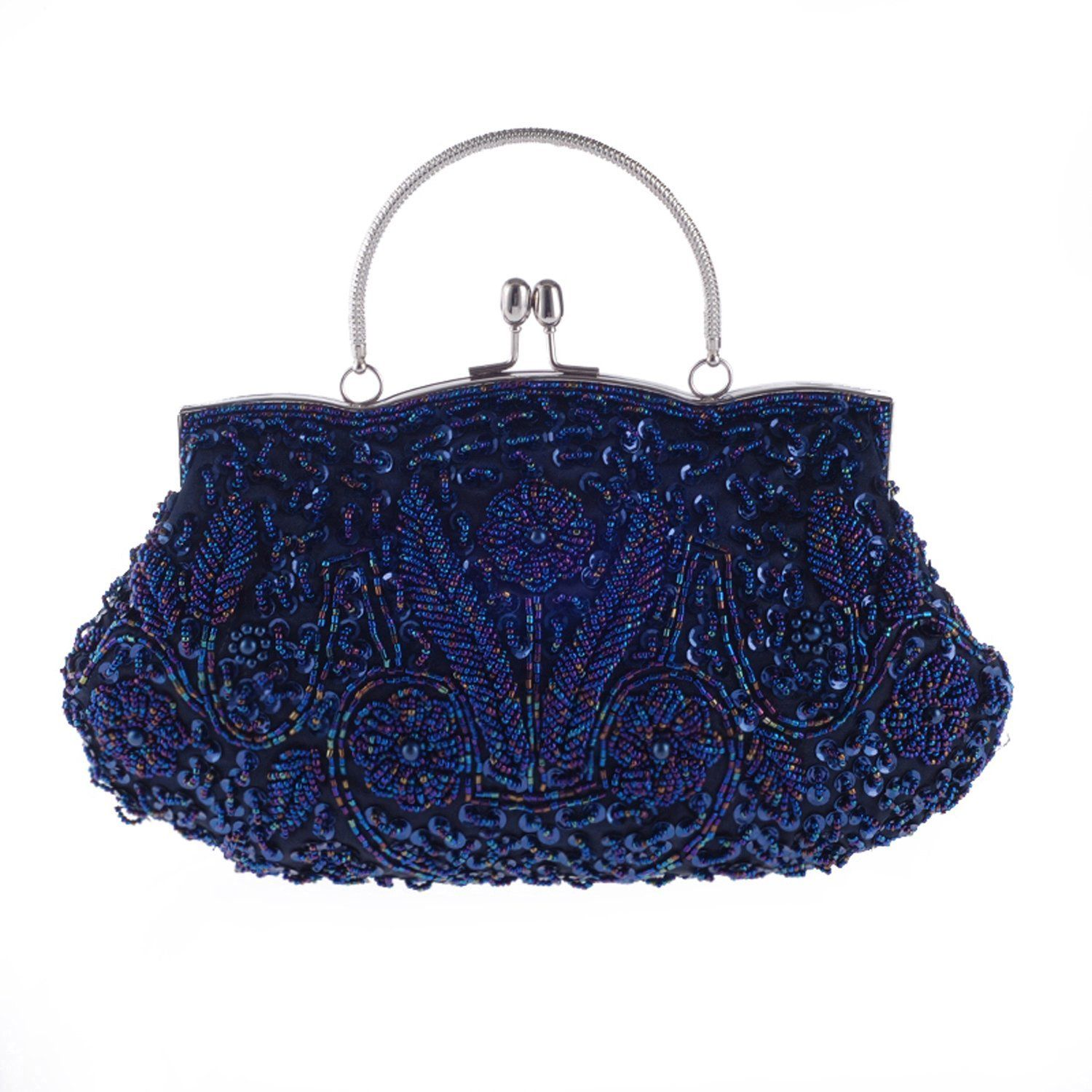 Chichitop Beaded Sequin Design Flower Evening Purse Large Clutch Bag Navy Blue Handbags