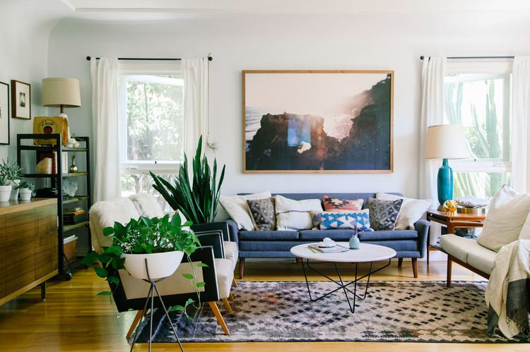 Kaitlin Mchugh's Earthy Modern Silver Lake Home  Earthy Lakes Stunning Blue And Silver Living Room Designs Inspiration