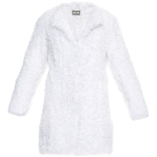 Yves Salomon Collarless lambswool-fur coat ($1,695) ❤ liked on Polyvore featuring outerwear, coats, white, white coat, collarless coat, yves salomon, fuzzy coat and white fur coat