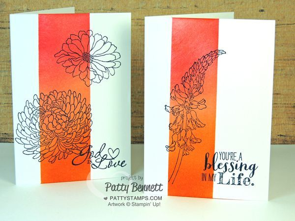 Sponged Note Cards with Stampin Up ink paper and stamps featuring the Forever Florals stamp set. by Patty Bennett