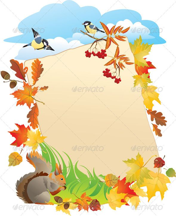 Autumn Background With Portrait Frame Frame Vector