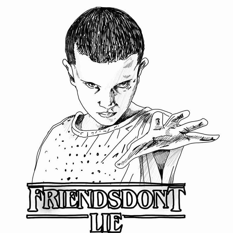 Stranger Things Coloring Book Luxury Stranger Things Friends Don T Lie Eleven Graphic In 2020 Stranger Things Coloring Pages Stranger Things Halloween