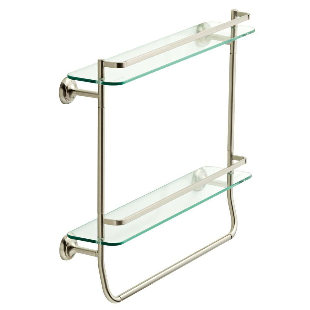 surprising Brushed Nickel Bathroom Shelving Unit Part - 15: Bath · Delta 20 in. Double Glass Shelf with Towel Bar in SpotShield Brushed  Nickel