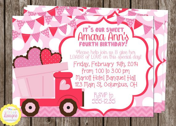 printable loads of love pink dumptruck hearts birthday invitation