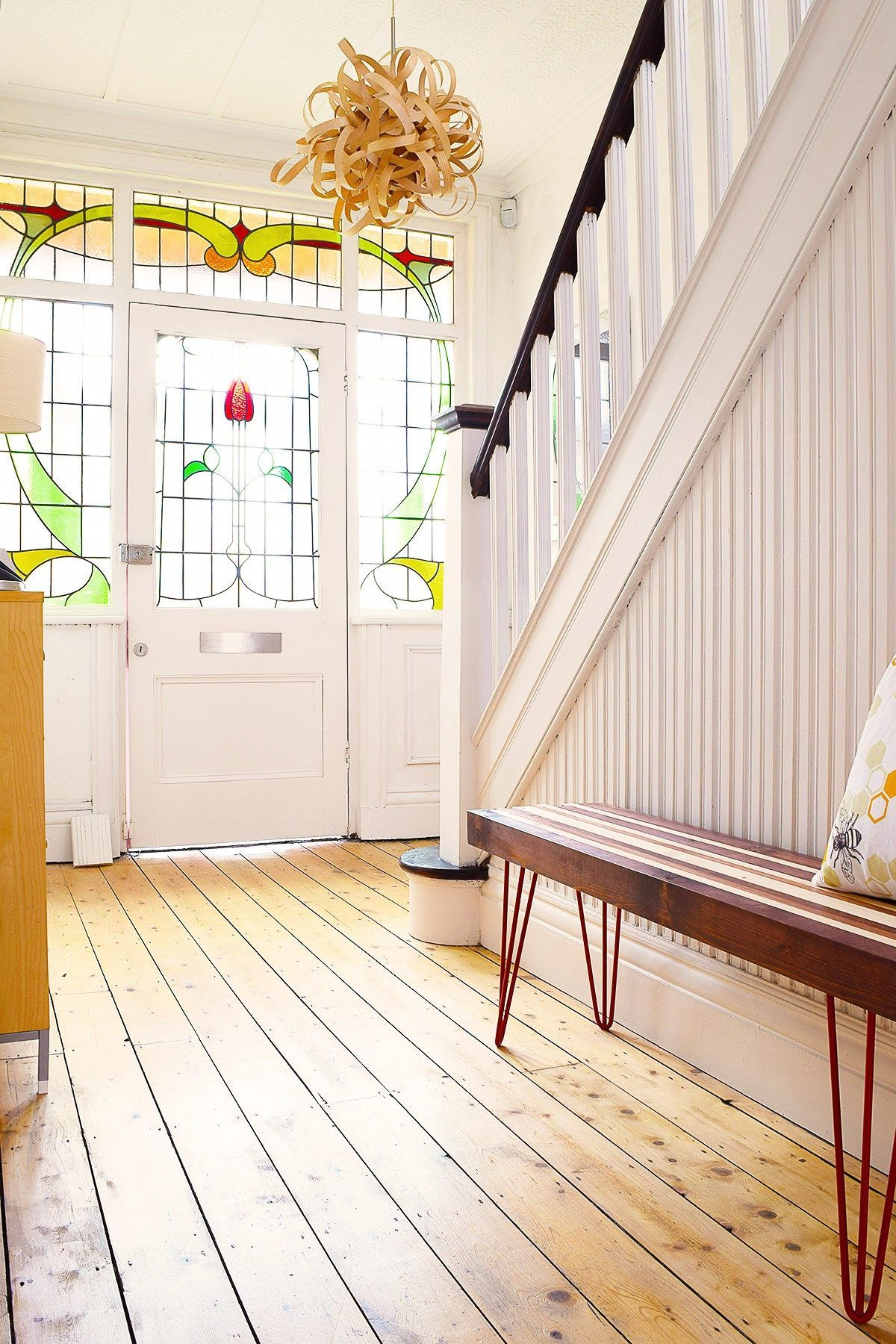 Edwardian hallway lighting  Edwardian Hallway With Stained Glass and Wooden Bench  Little House