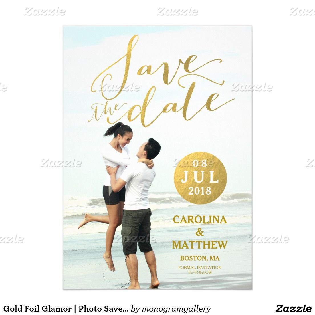 Gold Foil Glamor   Photo Save the Date Card