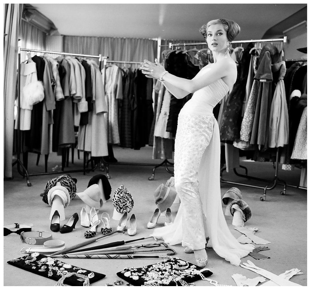 German model Gisela Ebel-Penkert with fashions and accessories from the New West Berlin Fashion Center, photo by Michael Rougier, 1957