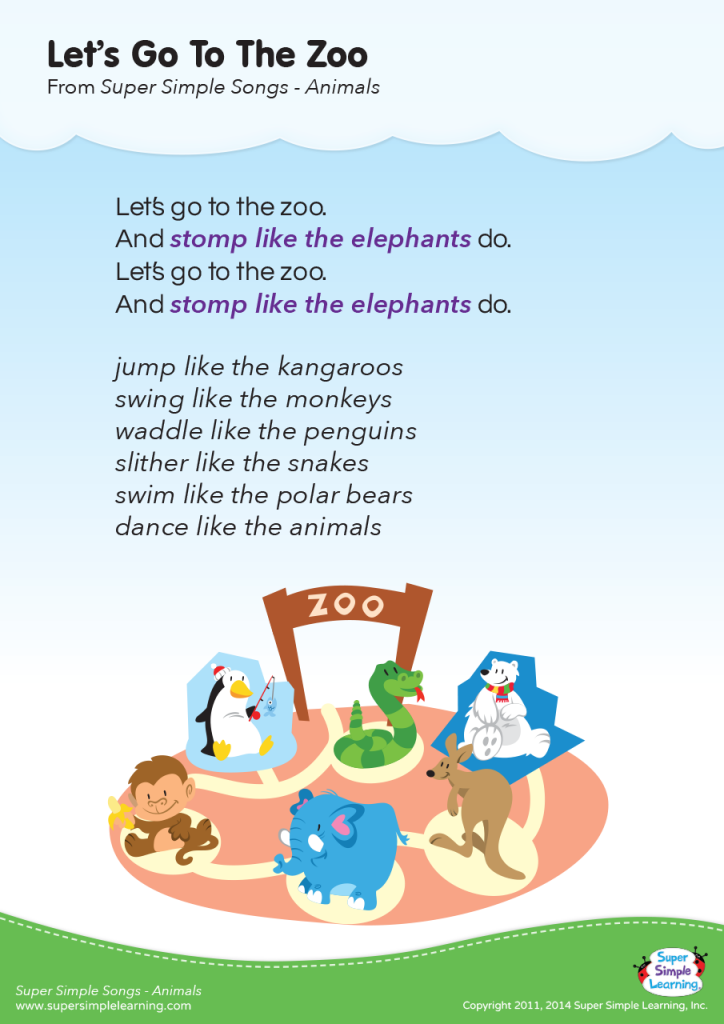 Let's Go To The Zoo Lyrics Poster Super Simple Zoo
