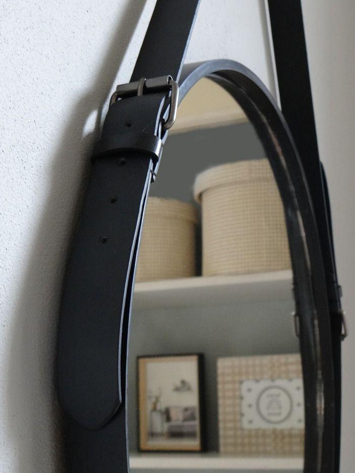 Spiegel riem woonkamer for Spiegel rond leer