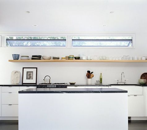 Single Shelf Instead Of Upper Cabinets Clean Horizontal Lines Suzanne Shaker Kitchen In Shelter Island Jpg Open Shelving Kitchen Facelift Chic Kitchen