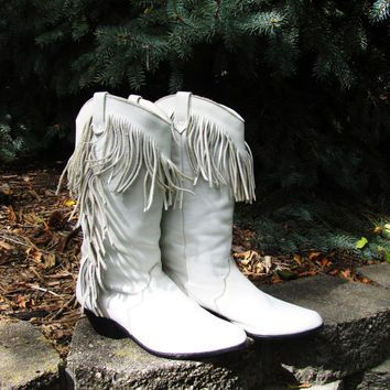 vintage white leather fringe cowgirl boot. made by Dingo. white ...