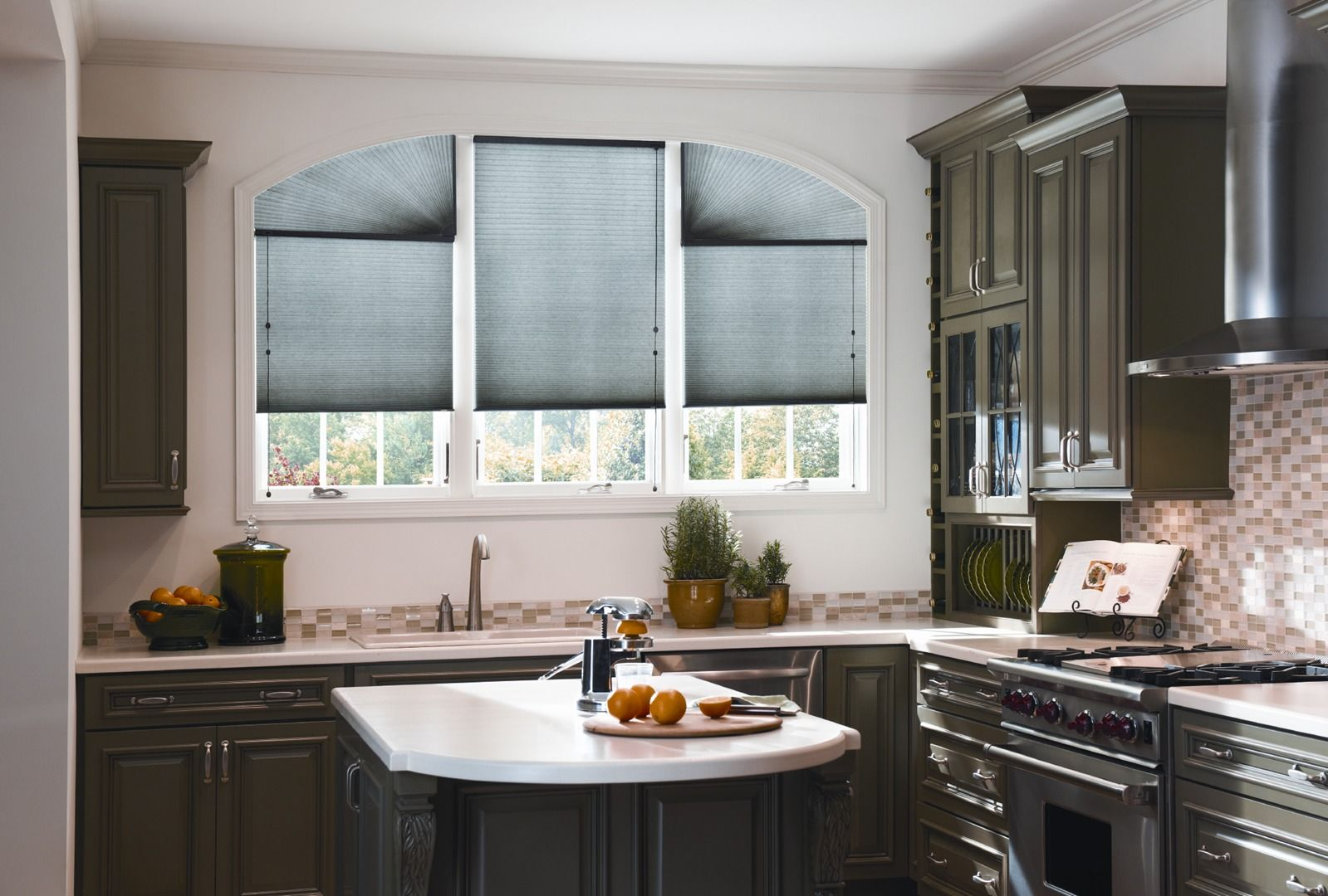 Graber cellular shades above kitchen sink